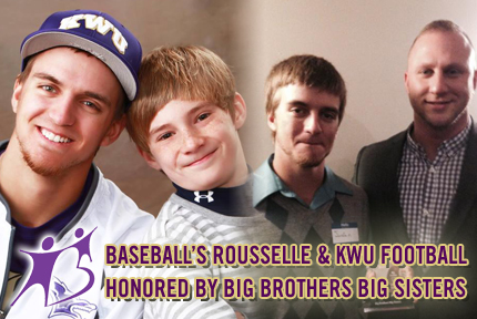 (left) Rousselle and his little Wyatt, and Rousselle and KWU Football Coach Matt Drinkall at last week's BBBS Awards Banquet