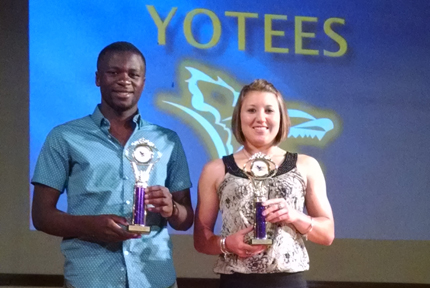 Blessing Ngwa and  Kamie Rash were selected as the F. Gene Bissell Male and M. Virginia Bevan Female Student-Athletes of the