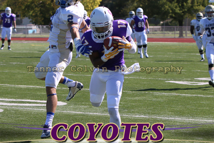 Michael Guerrero makes a catch during the first quarter of KWU's loss to Tabor on Saturday