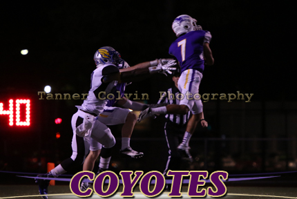 Kenny Diaz intercepts a pass in the third quarter for the Coyotes on Saturday night against Bethany