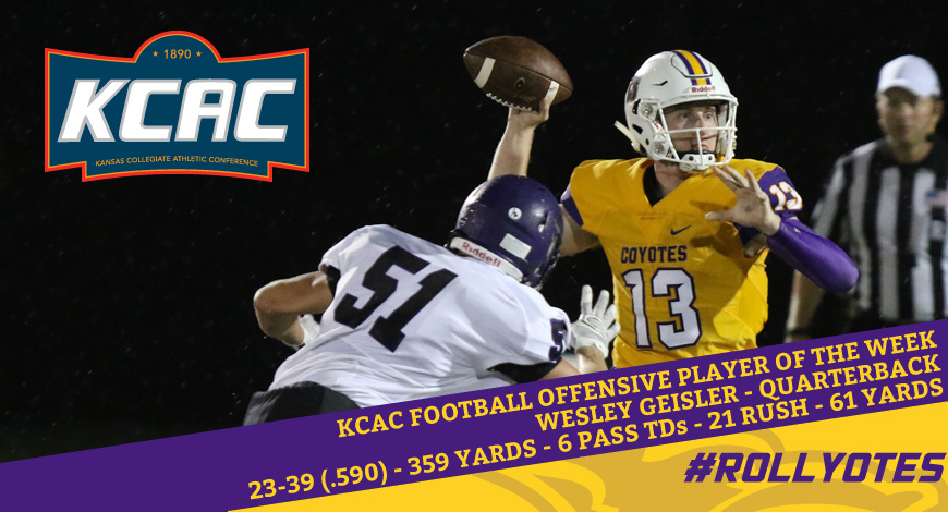 Photo for Geisler earns second straight KCAC Offensive Player of the Week honor