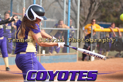 Kim Patterson connects on her 2-run homer in the sixth inning as the Coyotes swept Ottawa in the KCAC opener for both teams