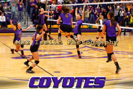The KWU Coyotes celebrate the final point in Wesleyan's 4-set win over Oklahoma Baptist in the NAIA Opening Round