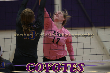 Kelsey Plummer, here vs Bethany, has filled in for an injured Taylor Klover and scored match point tonight against Tabor