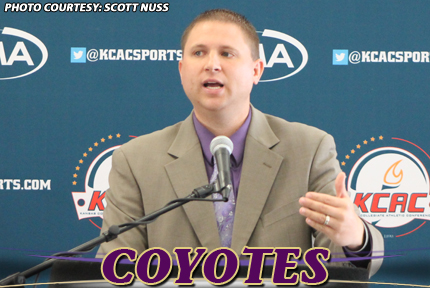 KWU coach Ryan Showman talks about the upcoming season during KCAC Media Day on Tuesday in Wichita