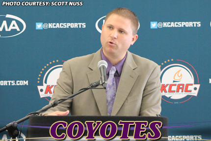 Coach Ryan Showman speaks at Tuesday's KCAC Basketball Media Day at the Hotel in Old Town in Wichita