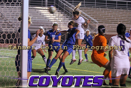 Yadira Toraya (jumping in center) scores her first of three goals on the night as KWU routed Tabor 6-1